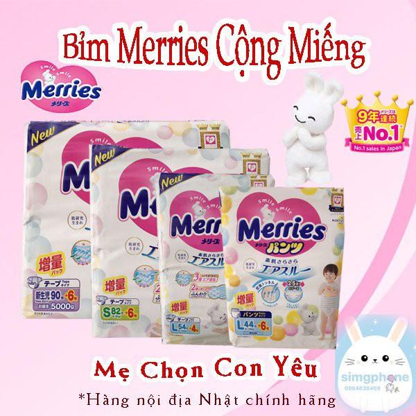 Tã Dán/Quần Merries Nội Địa Nhật NB96/S88/M68/L58/M64/L50/XL44/XXL26/XXL28