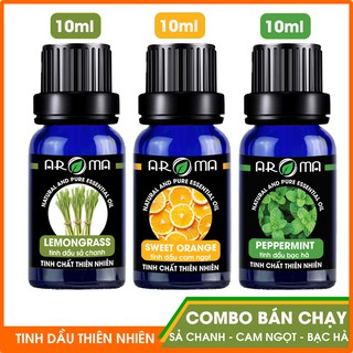 Combo 3 tinh dầu AROMA Sả Chanh - Cam Ngọt - Bạc Hà, tinh dầu thơm phòng nguyên chất tự nhiên thumbnail