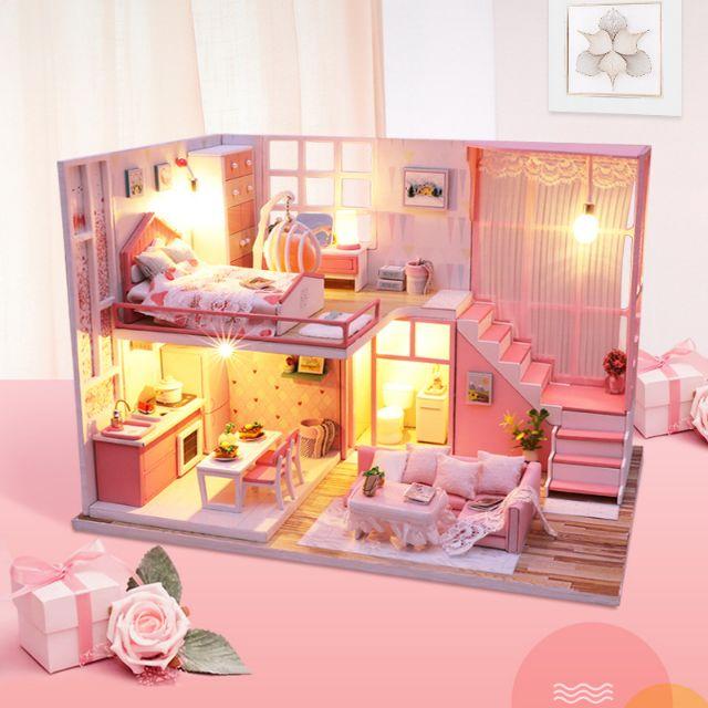 Kèm Mica và Keo dán – Mô hình nhà gỗ búp bê Dollhouse DIY – M022A Shallow Powder Time