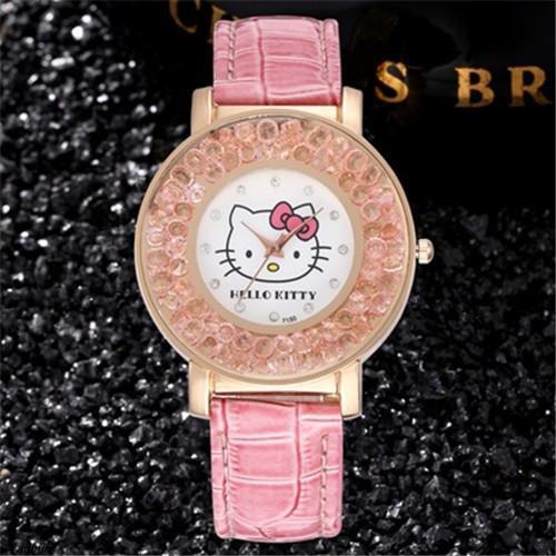 สวัสดีเด็กคิตตี้นาฬิกาแฟชั่นหรูหราฟุ่มเฟือยสาว rhinestone การ์ตูนน่ารักทุกวันป้อ