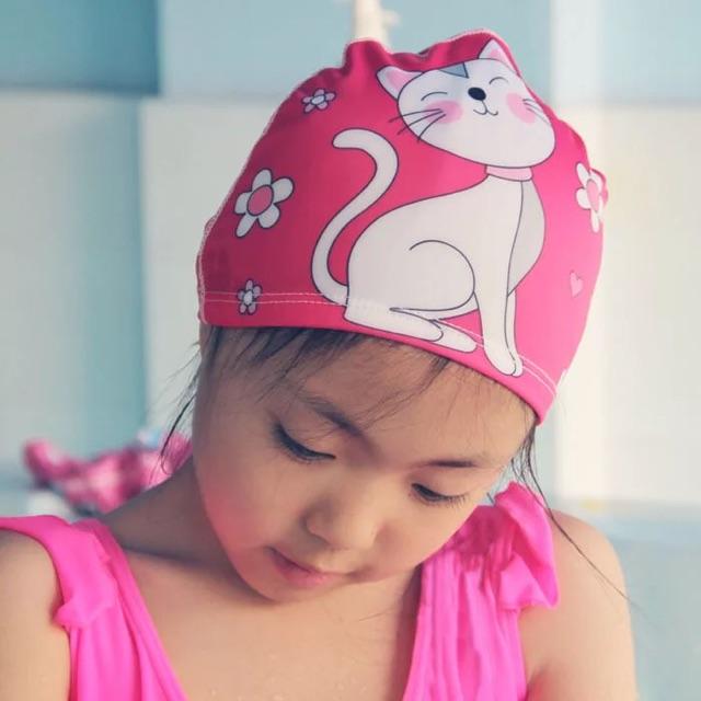 Nón bơi/ mũ bơi cho bé trai/ bé gái - Nón bơi trẻ em bằng thun in hình dễ thương