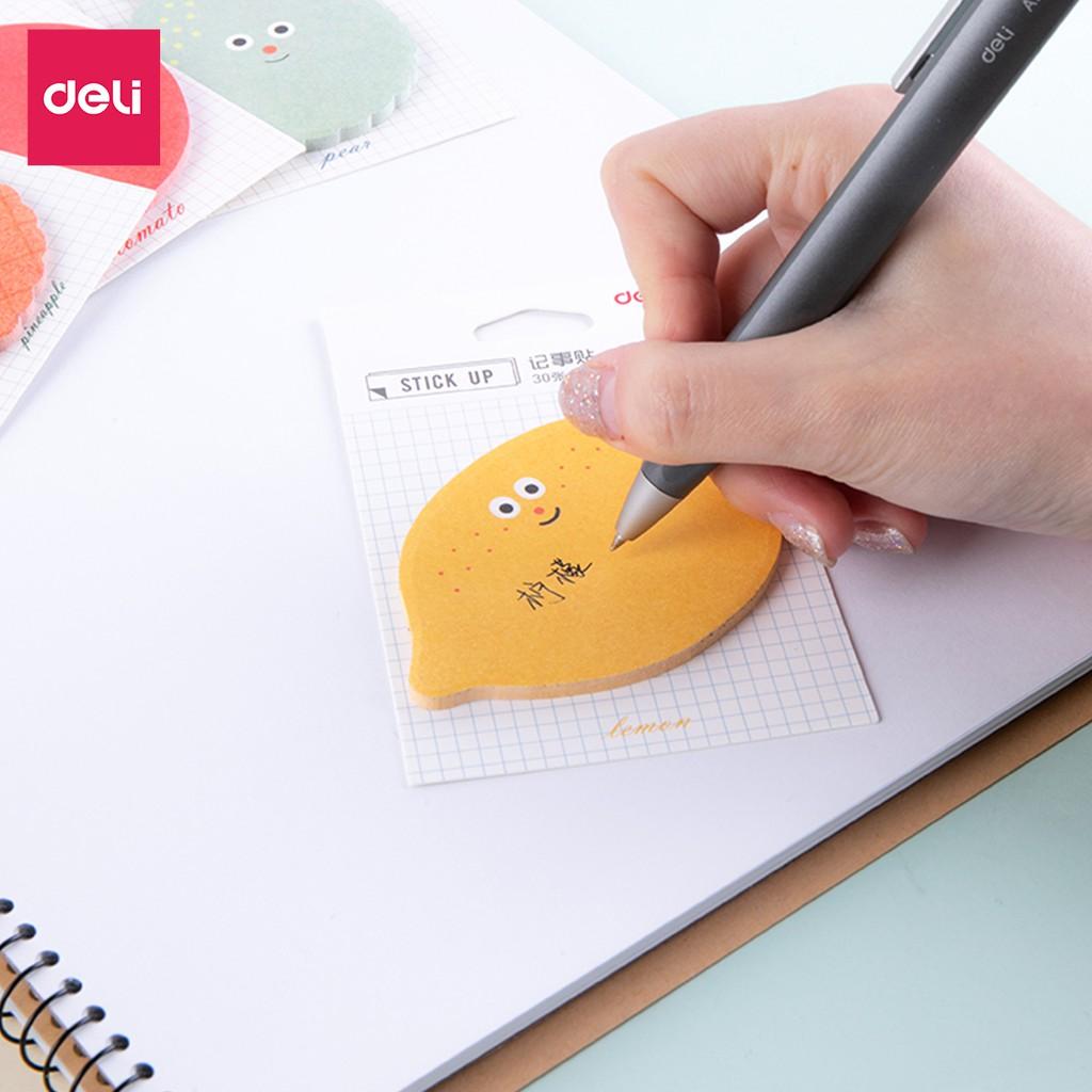 Giấy nhớ giấy nhắn hình hoa quả 73mm x 60mm Deli - giấy note ghi chú -  1 tệp - 25601