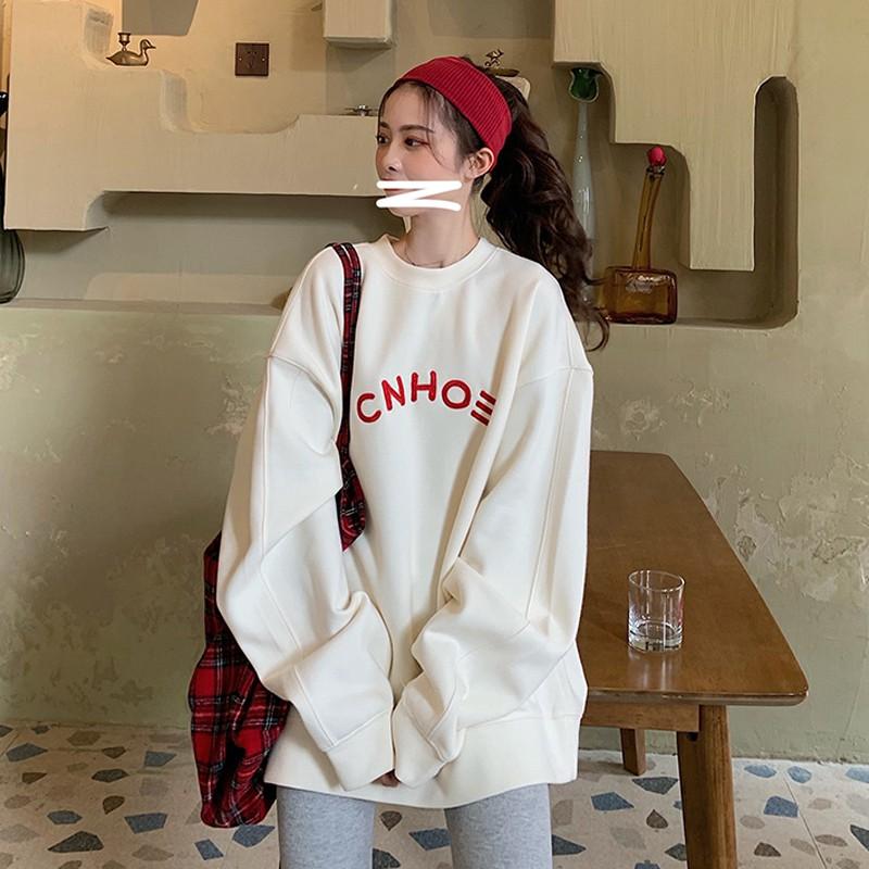 Áo Sweater Nữ Dáng Rộng In Chữ Phong Cách Hàn Quốc Năng Động Cho Nữ, Áo nỉ S54