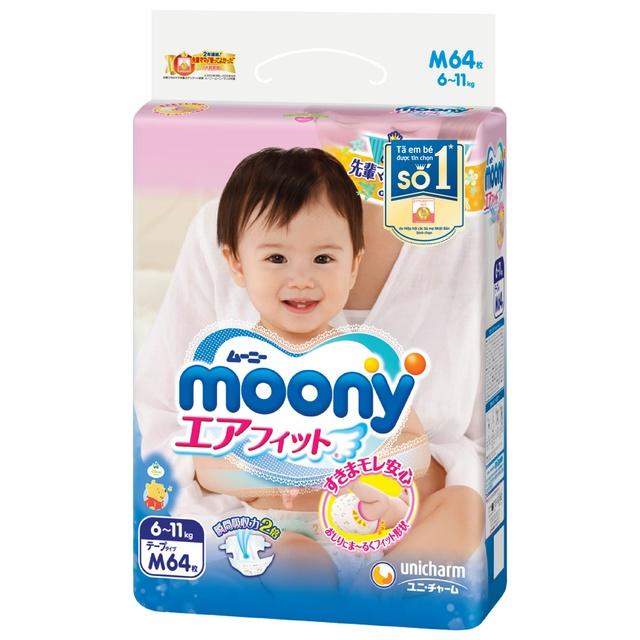Tã Bỉm Moony NỘI ĐỊA NHẬT dán quần NB90/S84/M64