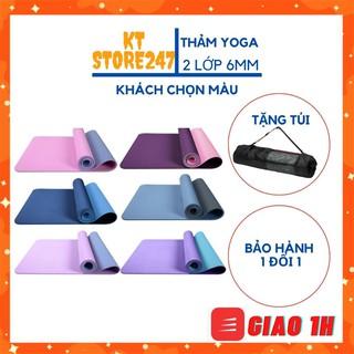 Thảm Tập GYM❤️FREESHIP❤️Thảm YoGa Cao Cấp TPE 2 lớp dày 6MM-8MM LỖI 1 ĐỔI 1