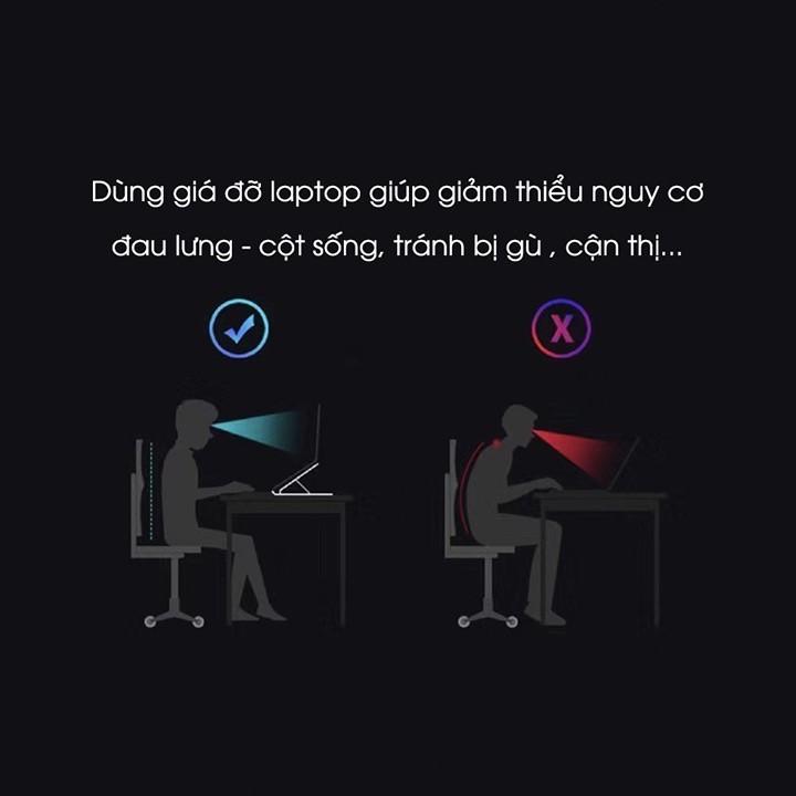 Giá đỡ Laptop Nhôm gấp gọn 7 nấc điều chỉnh độ cao, giúp tản nhiệt Laptop hiệu quả