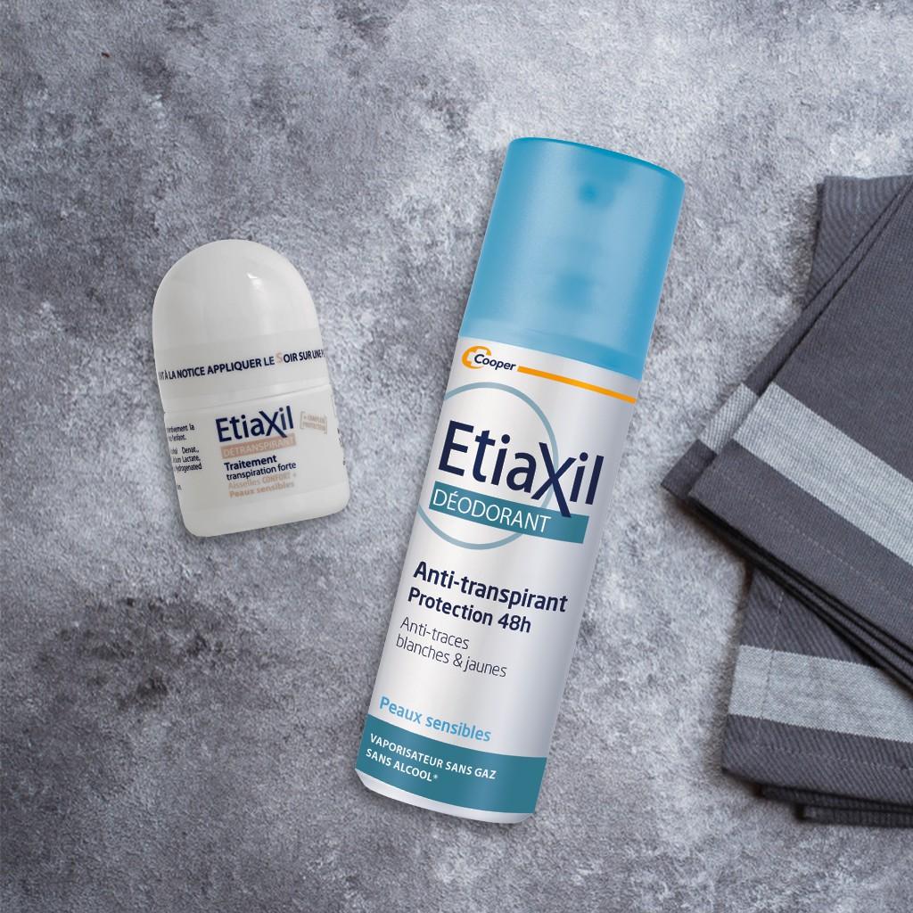Combo Lăn khử mùi và điều tiết mồ hôi Etiaxil Nhãn Nâu 15ML và Xịt Khử mùi Etiaxil 100ML