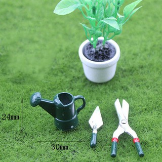 1 Set dollhouse miniature toy mini watering pot+scissors+shovel tool