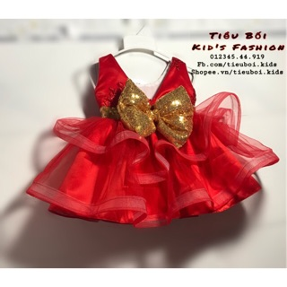 Đầm công chúa đỏ xoè 2 tầng sát nách