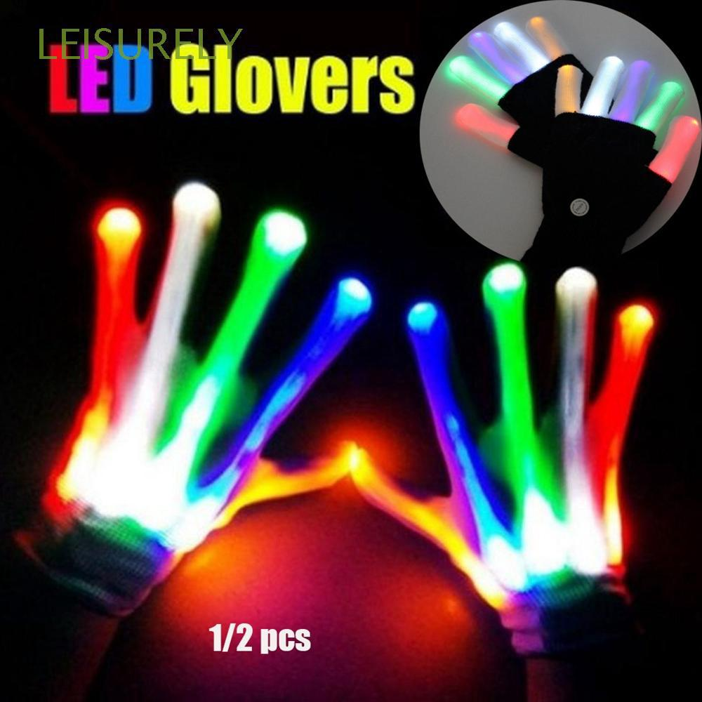 1/2pcs Colorful Creative Festive Party Supplies Xmas Dance Rave Luminous Flashing Glove
