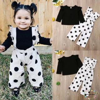 Bộ quần yếm dài họa tiết chấm bi + áo thun màu đen tay dài xinh xắn cho bé gái