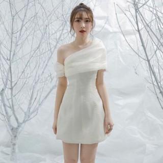 [vải loại 1] Đầm váy nữ dự tiệc trắng lệch vai phồng xốp dạo phố rất dễ thương .