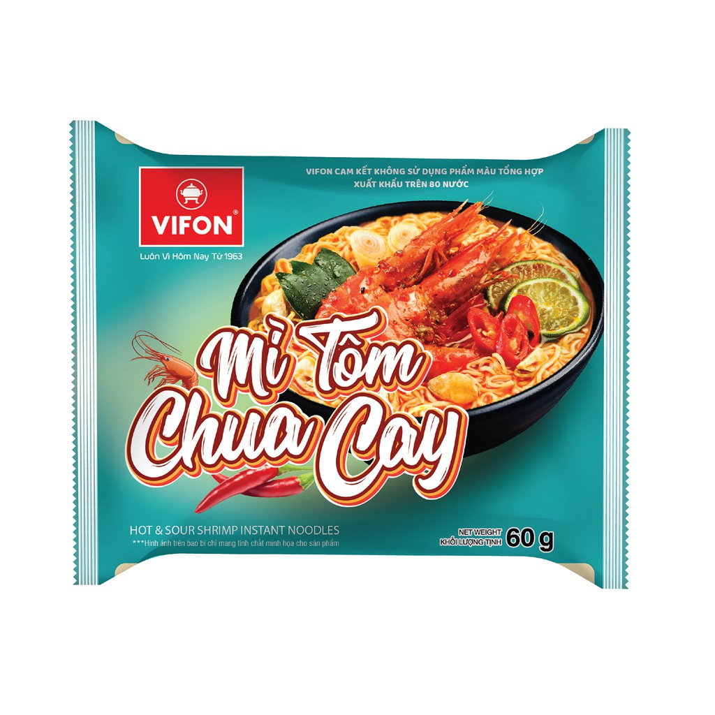Thùng 30 Gói Mì Tôm Chua Cay VIFON 60g/gói