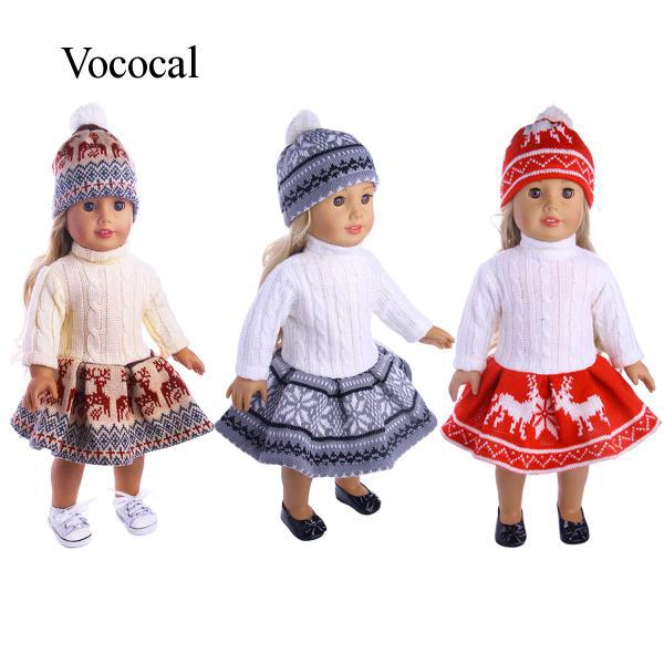 Fashion Doll Clothes Costume with Sweater Dress Hat for 18 inch American Girl