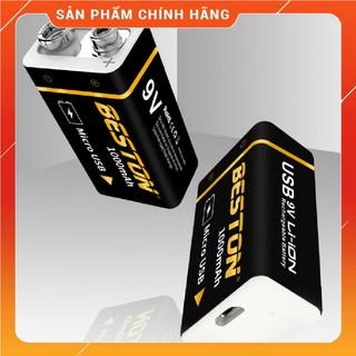 Pin vuông 9v Lithium Ion cao cấp Sạc lại Chính hãng Beston dung lượng cao 1000mAh sạc trực tiếp bằng dây cáp micro USB