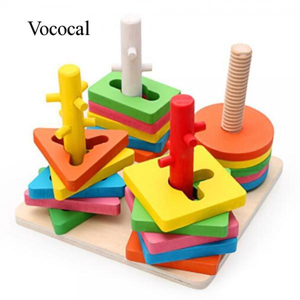 Kids Geometric Sorting Board Learning Educational Intellectual Building Block