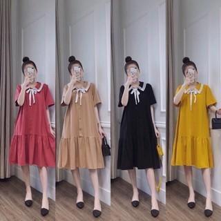 Đầm Bầu🤰 , Váy Bầu 🤰 thiết kế đuôi cá cổ viền ren thăt nơ VB2303 chất mát