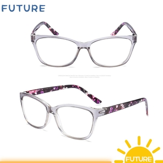🎈FUTURE🎈 With Diopters +1.0~+4.0 Presbyopia Eyeglasses Anti Glare Spectacle Frames Floral Reading Glasses Portable Ultralight PC Frame HD Resin Lens Radiation Protection Eyewear