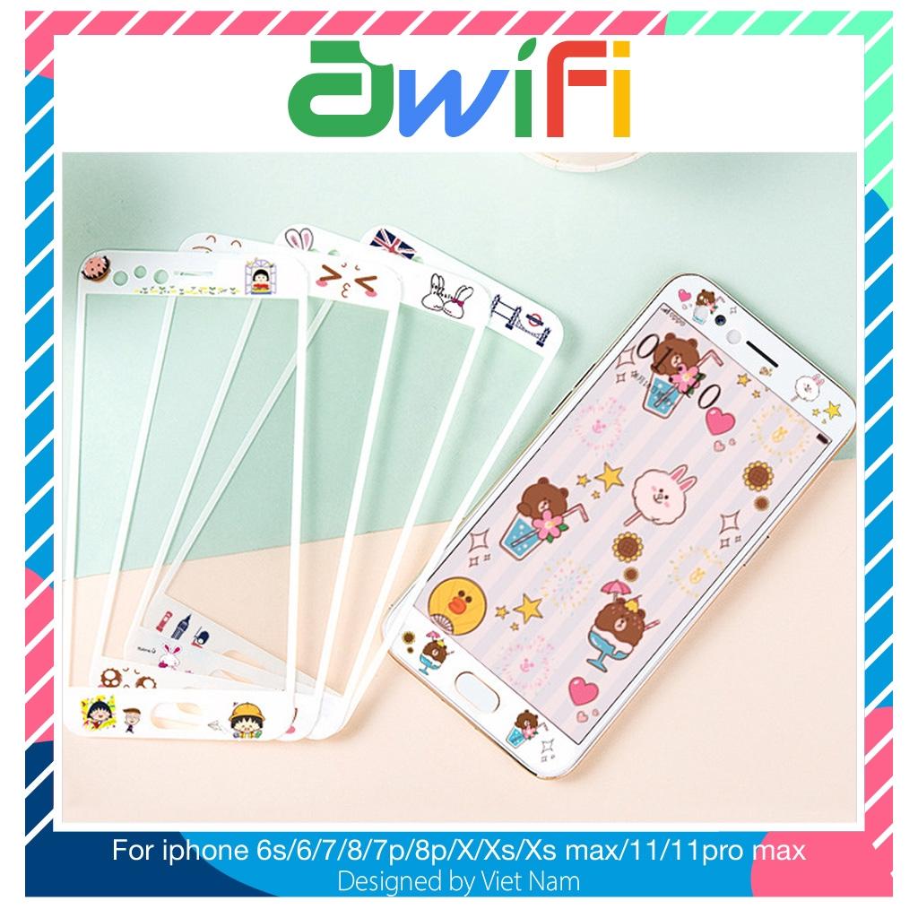 Kính cường lực 3d iphone nhân vật 1-12 mẫu 6/6s/6plus/6splus/7/8/7plus/8plus/x/xs/xsmax/11promax Awifi Case D3-1