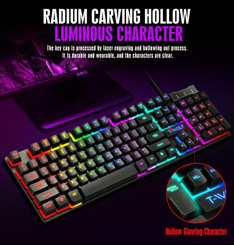Bàn Phím Cơ Gaming Tf200 Siêu Mỏng Có Đèn Led