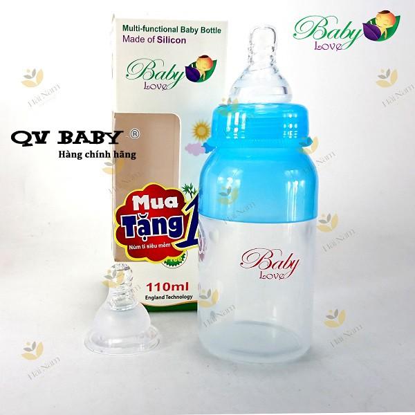bình sữa mềm bóp Baby Love 110 ml (tặng thêm 1 núm và 1 thìa)