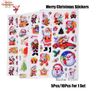 BS 5/10pcs Random Puffy Diary Scrapbooking Happy New Year Kids Xmas Gifts Merry Christmas Adhesive