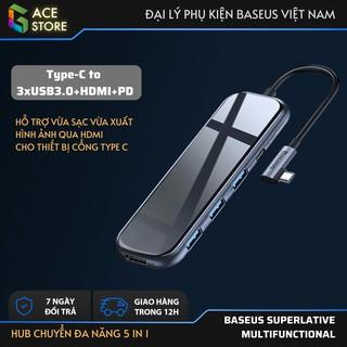 [Mã ELMSBC giảm 8% đơn 300K] Hub chuyển đa năng Baseus Superlative Multifunctional 5 in 1 (Type-C to 3xUSB3.0+HDMI+PD)