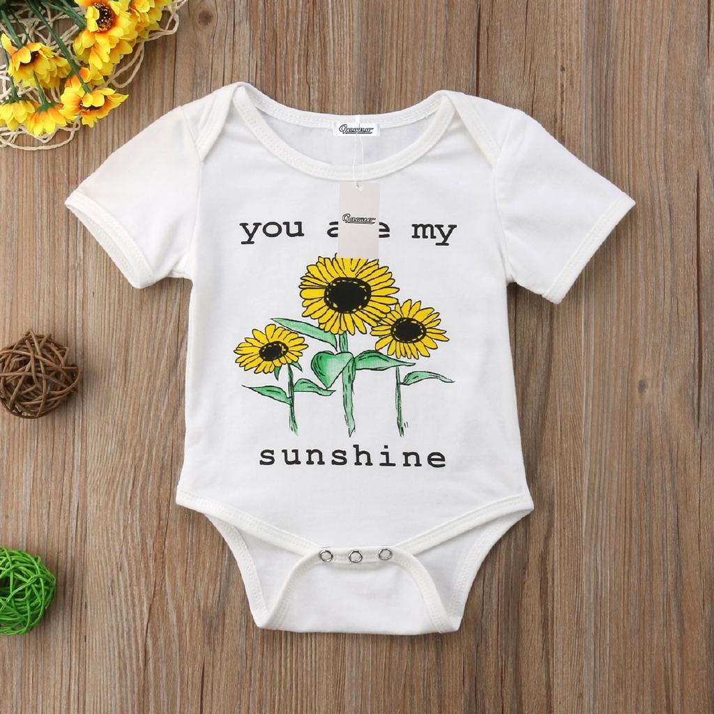 Set áo liền quần hình hoa hướng dương xinh xắn dành cho bé gái
