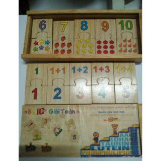 Bộ IQ toán học bằng gỗ cao su an toàn cho bé.