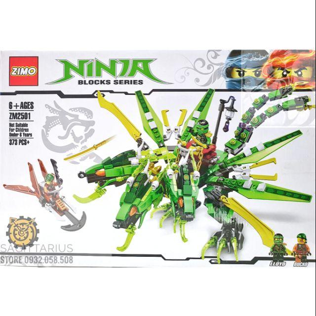 LEGO ZIMO NINJAGO Phiên bản lắp ráp robot rồng ninja ( xanh lá ) - 373 mảnh