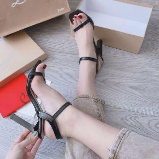 Giày sandal cao gót 9p quai mảnh da bóng gót dẹt mẫu hot 2020 thumbnail