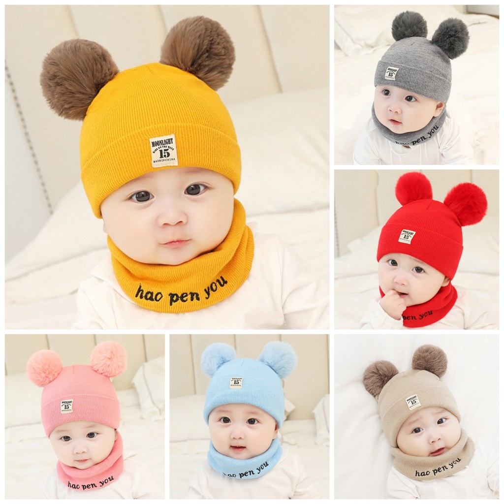 (L1 DÀY DẶN, KHÔNG NHÃO) Set Mũ len hai quả bông kèm khăn ống siêu yêu cho bé