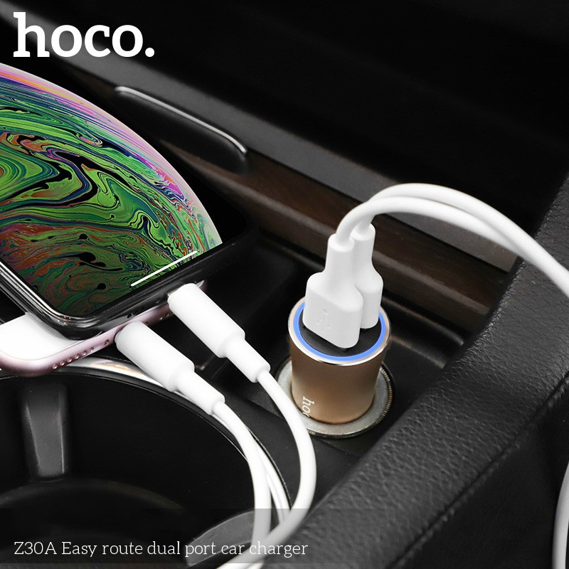 CODHOCO Z30A Dual Port Mini Car Charger Indicator Car Phone Charger Head