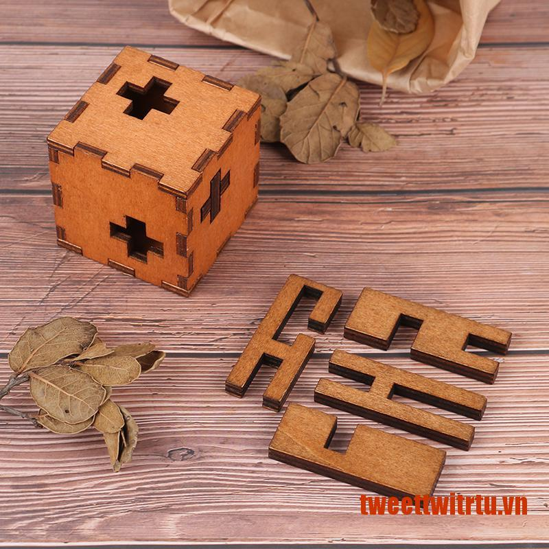 【TrTu】Switzerland Cube Wooden Secret Puzzle Box Wood Toy Brain Teaser Toy For