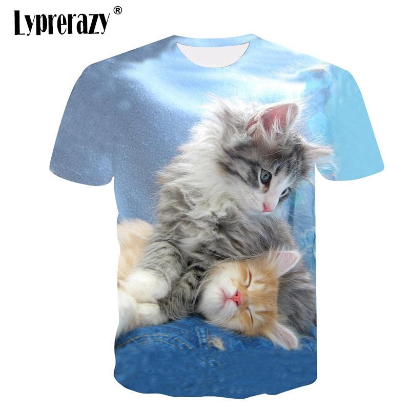 Áo thun nam ngắn tay in hình mèo 3D phong cách hip hop