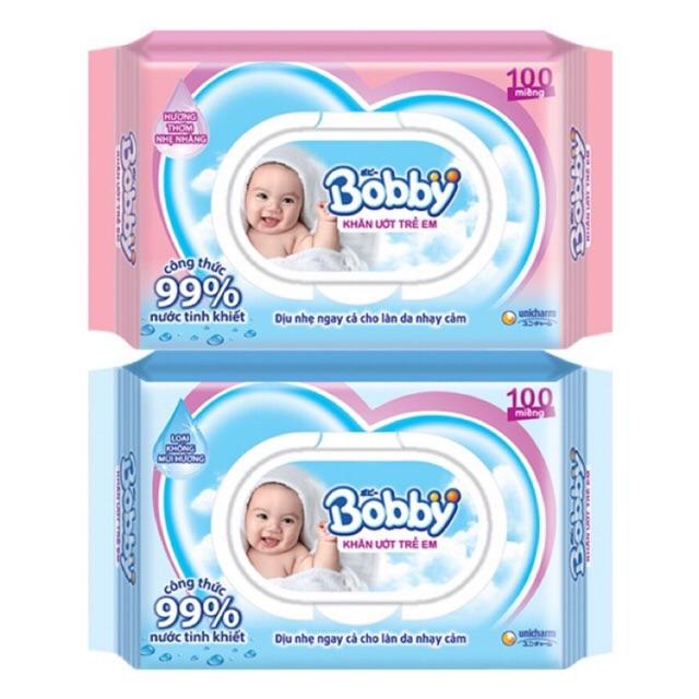 Khăn giấy ướt Bobby 100 tờ có mùi và không mùi