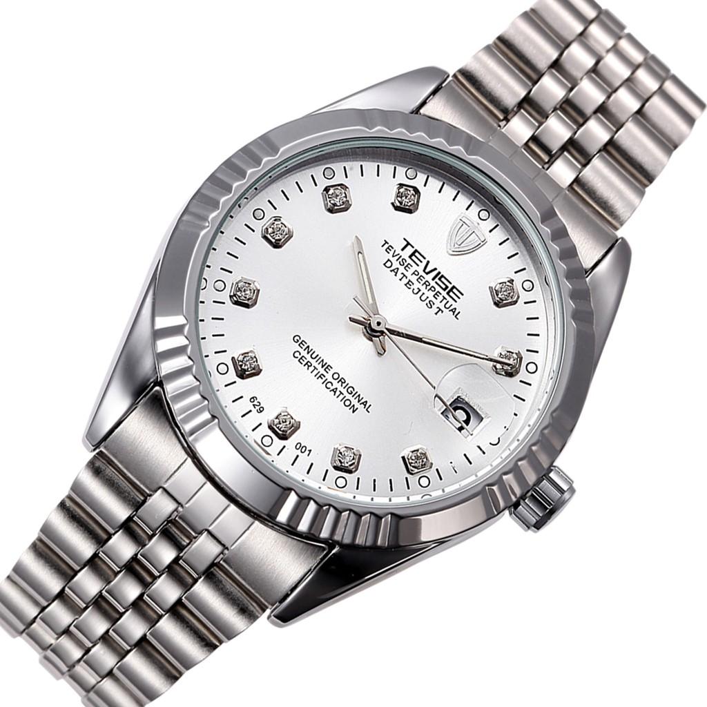 Đồng hồ cơ nam Tevise 629 automatic dây đúc đặc - Dây trắng