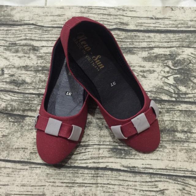 Giày búp bê đỏ quai đan caro