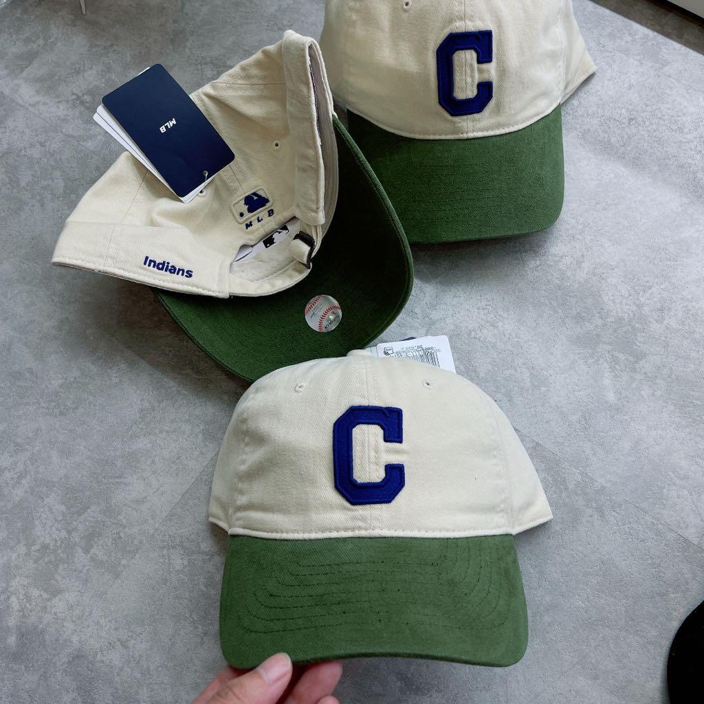 Mũ MLB mix màu sữa- xanh rêu