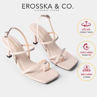 Giày cao gót Erosska phối dây xỏ ngón cao 7cm màu nude _ BM004