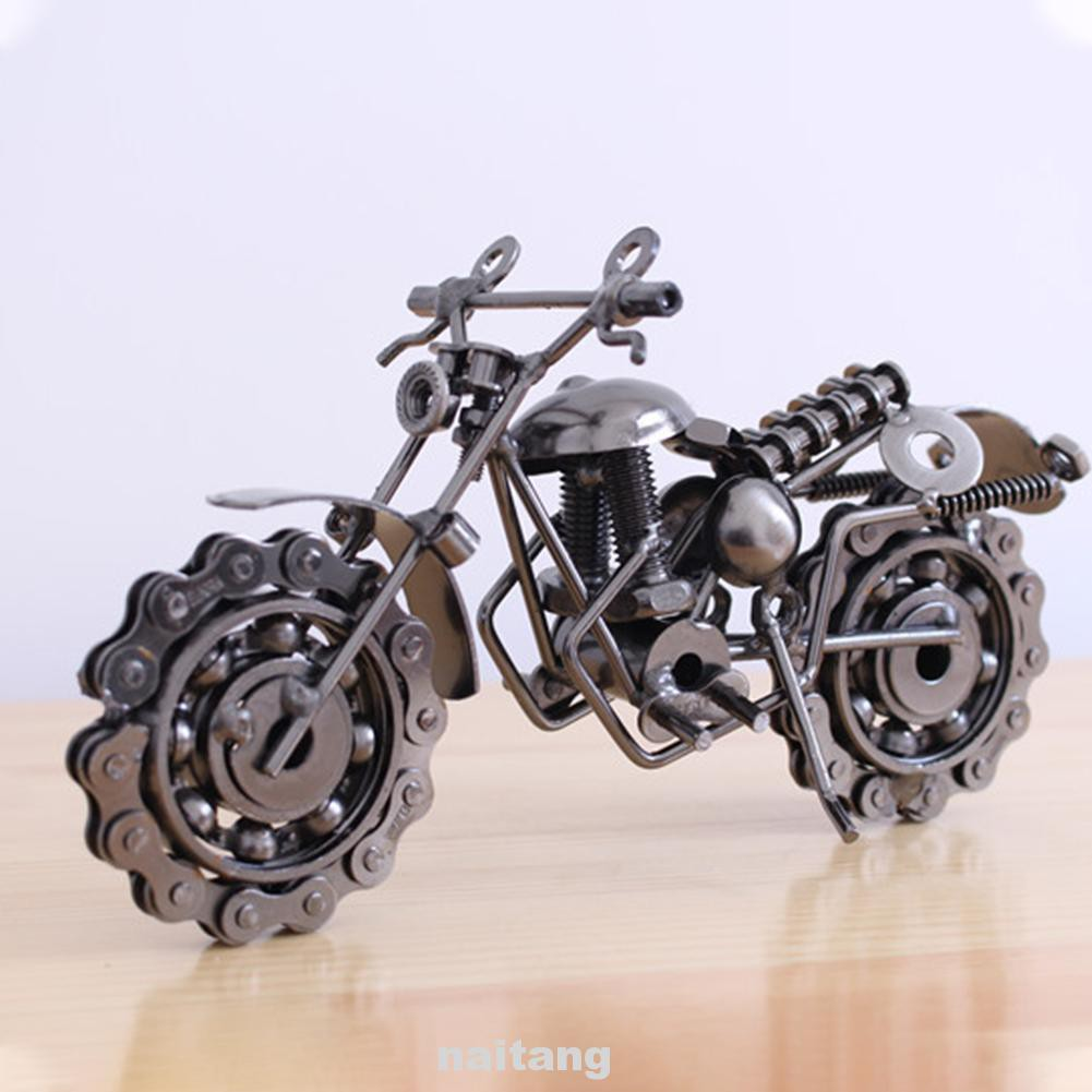 Desktop Classic Home Decor Craft Portable Collection Kids Toy Figurine Retro Iron Motorcycle Model