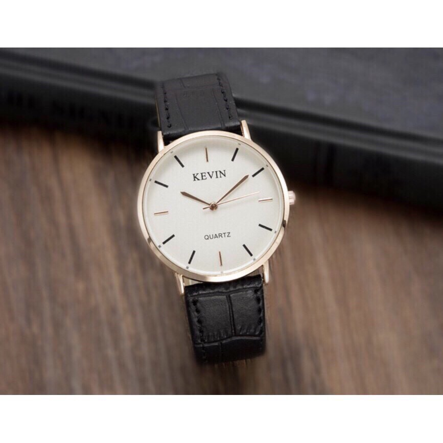 Đồng hồ thời trang nam nữ Kevin dây da viền bạc CV92