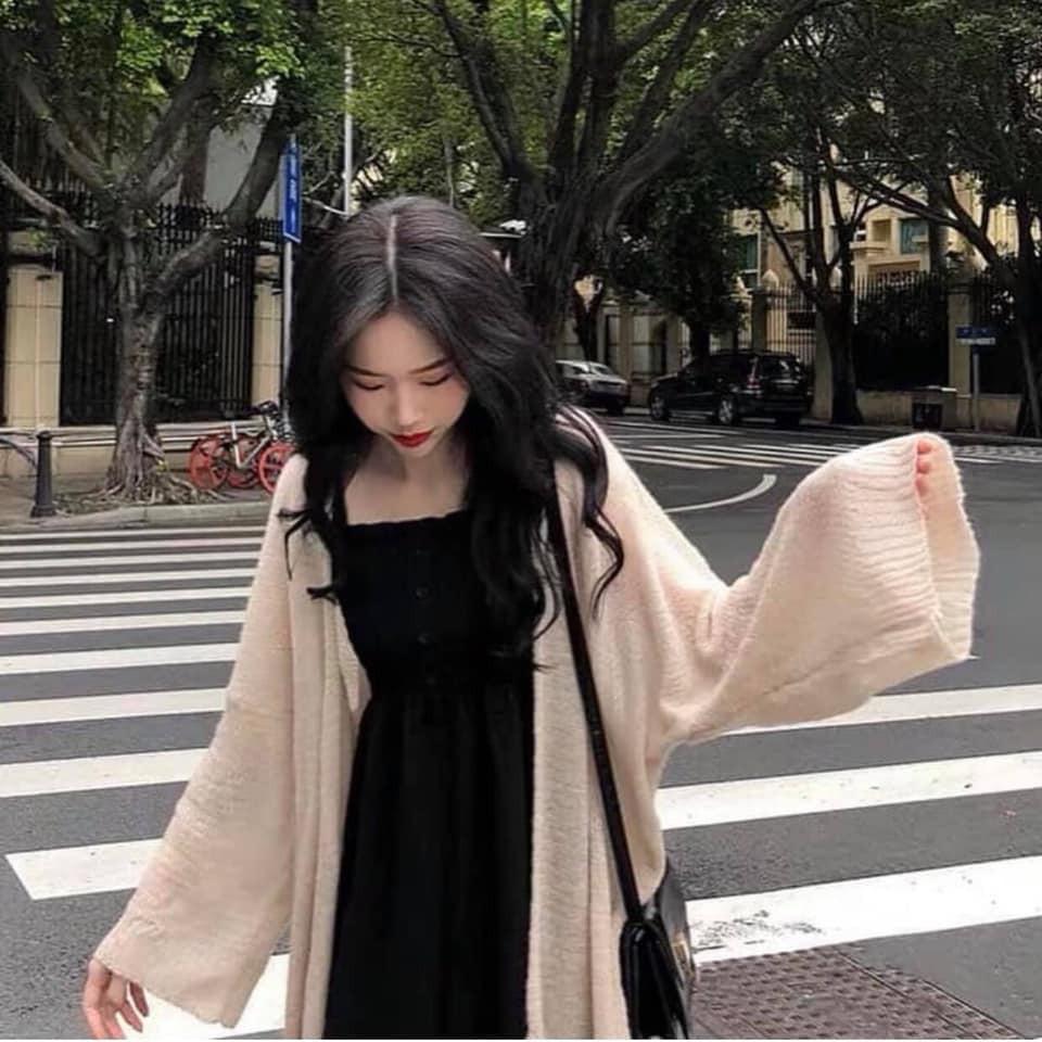 Áo Khoác Cardigan Lưới Nữ [FREESHIP] 🌸 Áo len mỏng tay bồng màu Trắng | Be | Nâu thun trơn basic ulzzang HOT 🌸