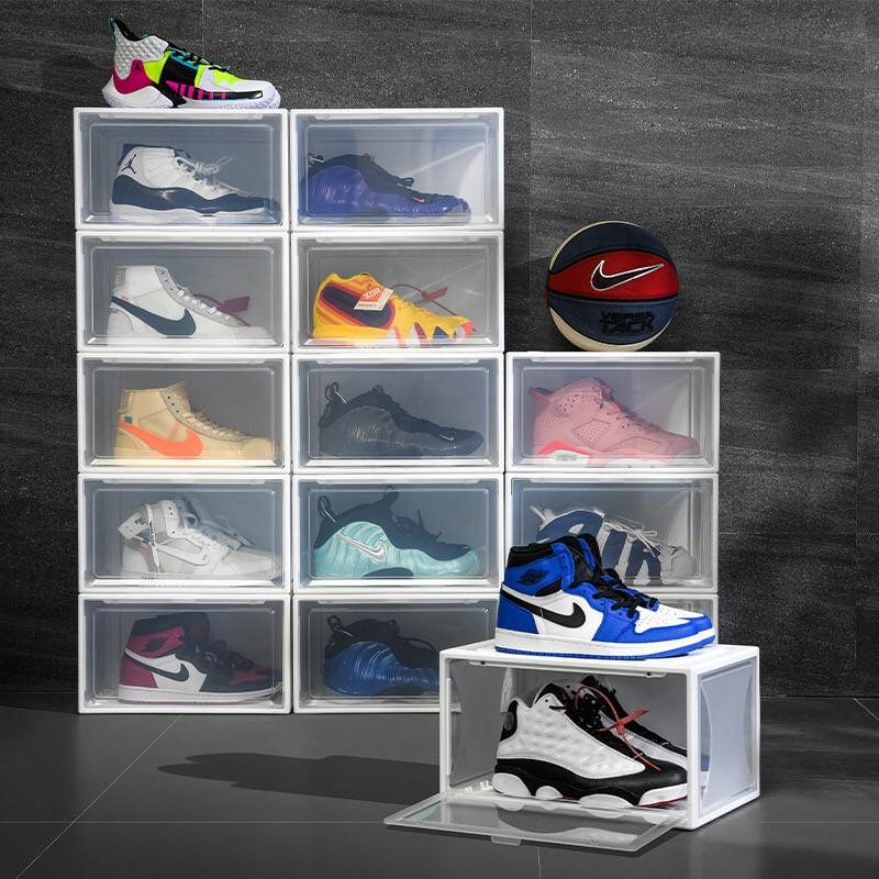 Hộp Đựng Giày PP Form Ngang - 100% Nhựa PP Cứng / 2 Màu Đen, Trong
