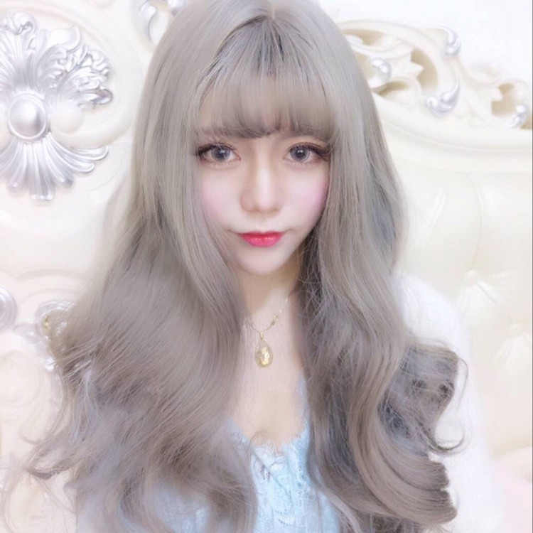 Overseas shipping Korean fashion wig female Air bangs long curly hair Harajuku g
