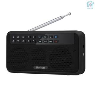 【E&V】Rolton E500 Wireless Bluetooth Speaker 6W HiFi Stereo Music Player Portable Digital FM Radio w/ Flashlight LED Display Mic Support Hands-free Re