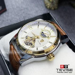 Đồng hồ cơ nam dây da cao cấp Tevise T805D-2 full box, mặt kính sapphire chống xước, chống nước, bảo hành 03 năm