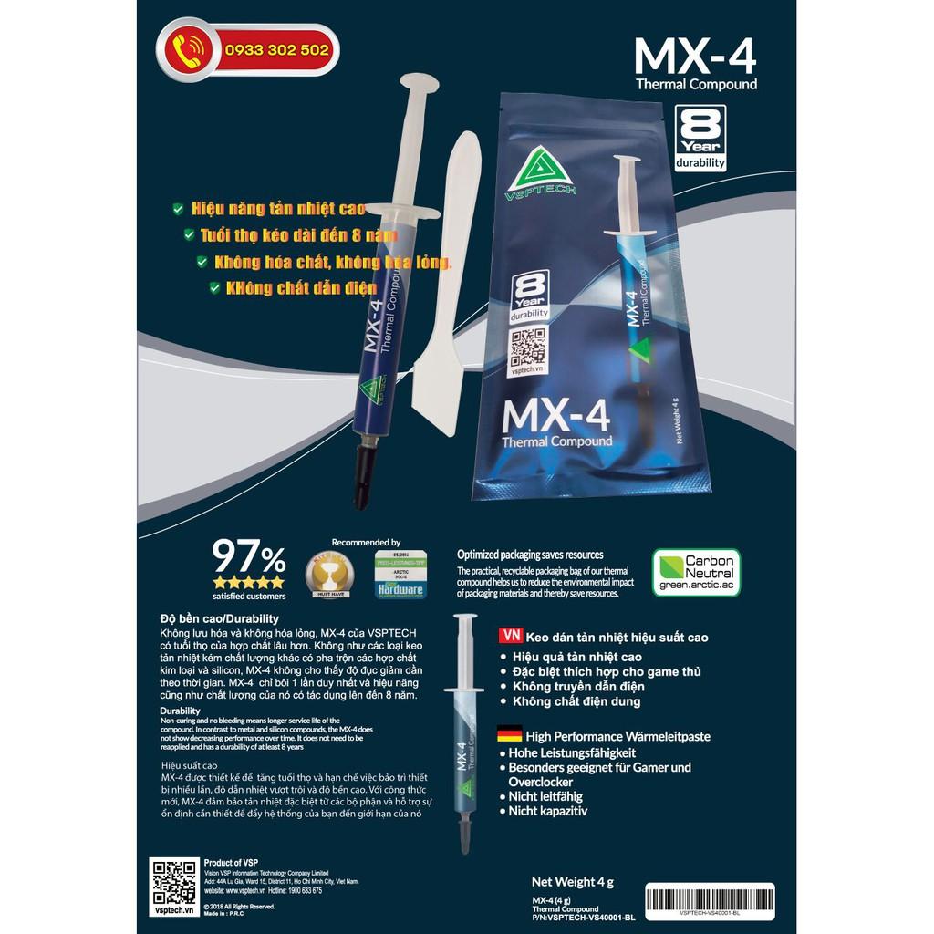 Keo Tản Nhiệt Hiệu Năng Cao MX4 ARCTIC (4 gram), 8.5W/mk.Dùng Cho CPU+GPU Máy Ép Xung, Chơi game, Đồ Họa, Chính Hãng