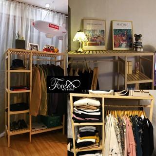 [GIÁ TẬN XƯỞNG] Kệ treo quần áo gỗ thông Mỹ – Tủ treo quần áo kiểu Hàn 98*38*150cm (2 buồng) – Bảo hành 1 năm