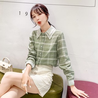 Korean Fashion Plaid Casual Shirt Women Autumn Long Sleeve Cute Top Yellow Pink Green